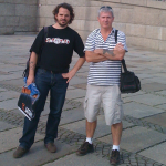 Germany-based journalist Ingo Petz and MIL managing director Selwyn Manning outside the Reichstag, Berlin.